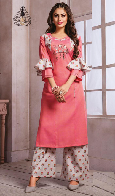 Pink Color Shaded Cotton Tunic