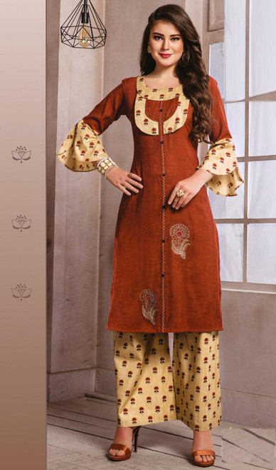 Brown and Cream Color Shaded Cotton Tunic