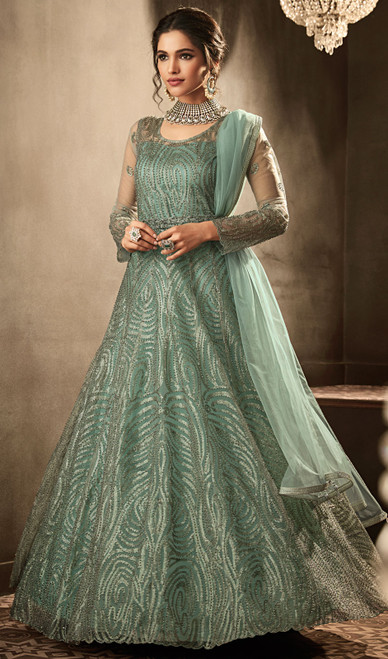 Embroidered Net Anarkali Green Color Suit