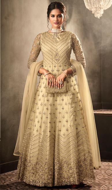 Beige Color Net Embroidered Anarkali Dress