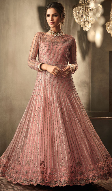 Embroidered Net in Pink Color Anarkali Suit