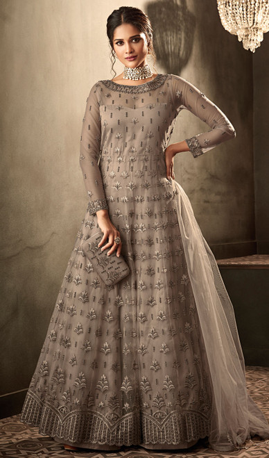 Anarkali Suit, Net Fabric in Brown Color Shaded