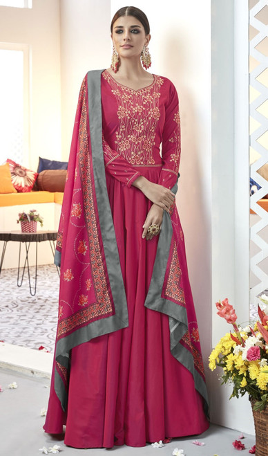 Coral Color Shaded Embroidered Silk Long Anarkali Suit