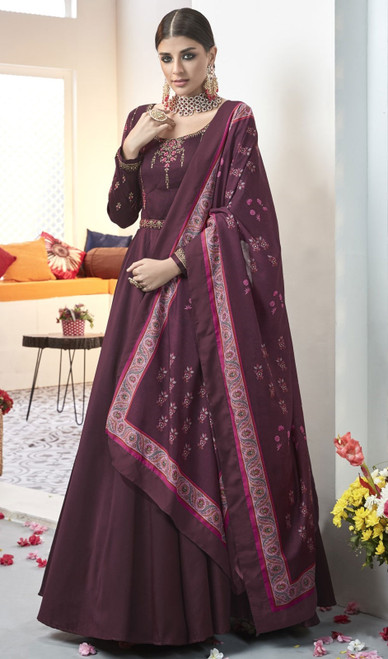 Long Anarkali Suit in Dark Purple Color Shaded Silk