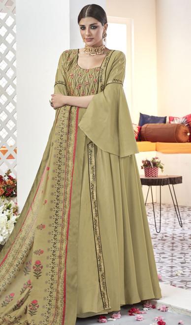 Light Green Color Embroidered Silk Long Anarkali Suit