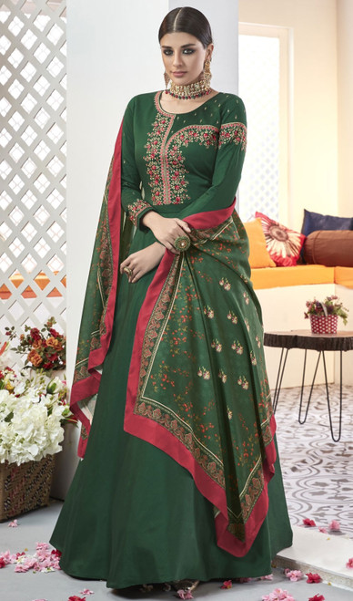 Dark Green Color Silk Embroidered Long Anarkali Dress