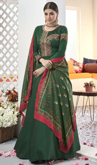 Dark Green Color Silk Embroidered Long Anarkali Dress
