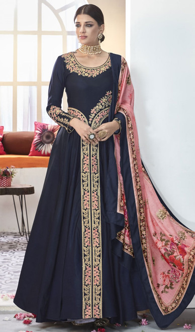 Navy Blue Color Shaded Silk Long Anarkali Suit