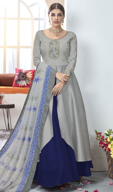 Gray and Navy Blue Color Shaded Silk Anarkali Suit