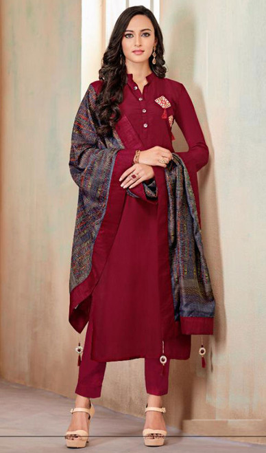 Maroon Color Cotton Embroidered Tunic