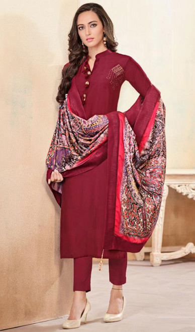 Maroon Color Shaded Cotton Tunic