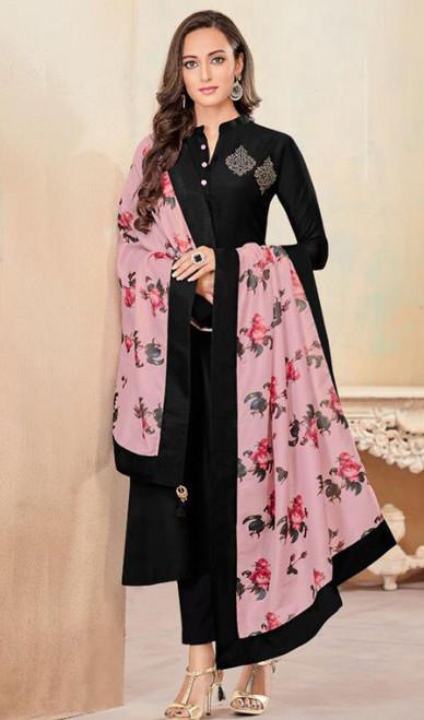 Black Color Embroidered Cotton Tunic