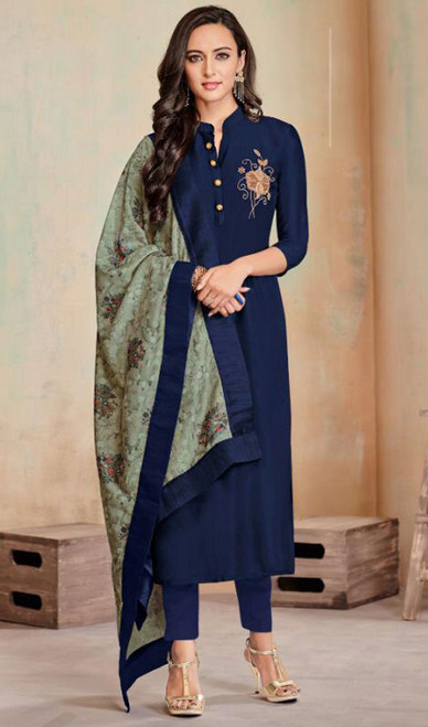 Navy Blue Color Shaded Cotton Tunic