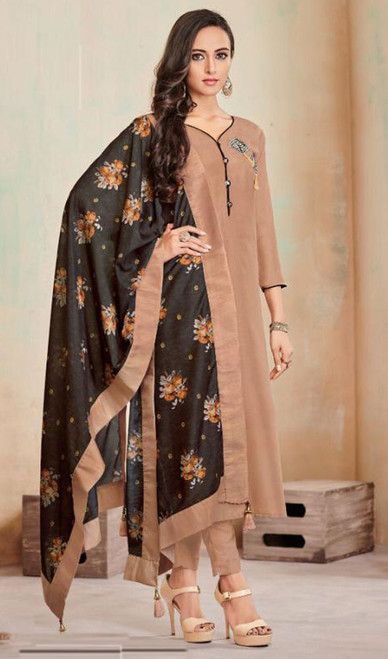 Beige Color Embroidered Cotton Tunic