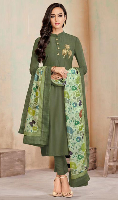 Mehendi Green Color Shaded Cotton Tunic