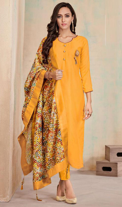 Yellow Color Cotton Embroidered Tunic