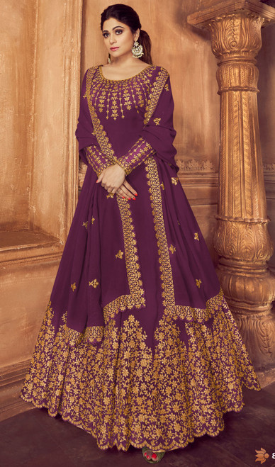 Purple Color Shamita Shetty Georgette Anarkali Suit
