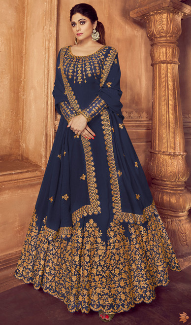 Shamita Shetty Blue Color Georgette Anarkali Dress