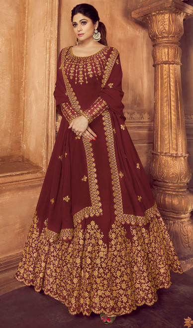 Shamita Shetty Maroon Color Georgette Anarkali Suit