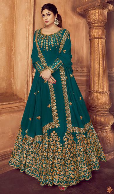 Shamita Shetty Greenish Blue Color Georgette Anarkali Dress
