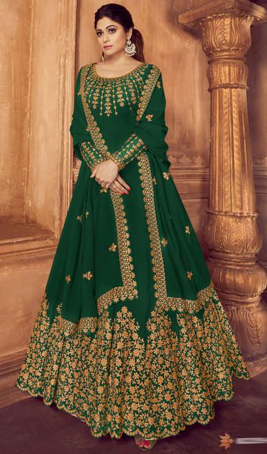 Shamita Shetty Green Color Georgette Anarkali Suit