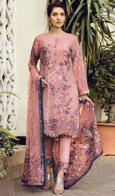 Embroidered Pink Color Georgette Pant Style Suit