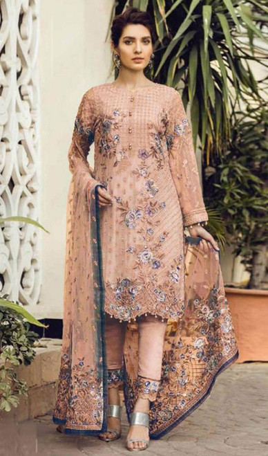 Peach Color Georgette Embroidered Pant Style Dress