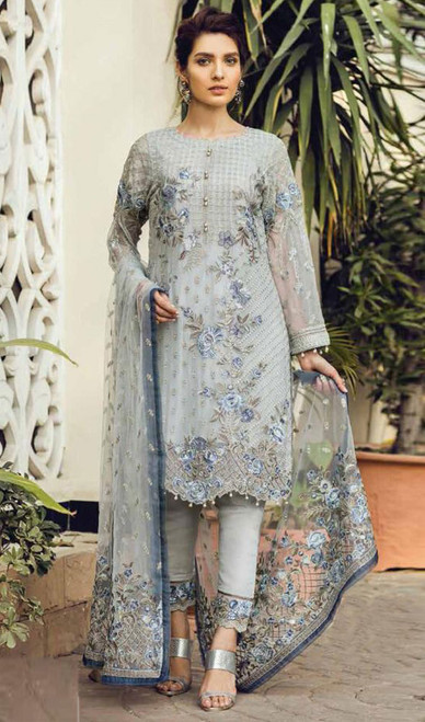 Blue Color Embroidered Georgette Pant Style Suit