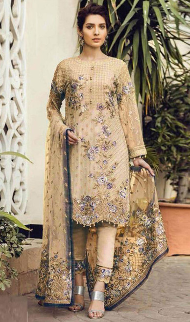 Georgette Embroidered Cream Color Pant Style Suit