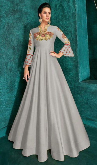 Gray Color Embroidered Silk Gown