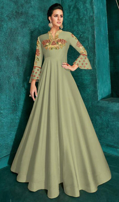 Green Color Silk Embroidered Gown