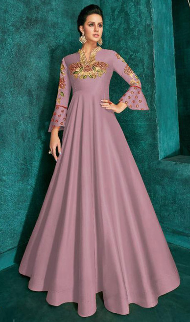 Pink Color Embroidered Silk Gown