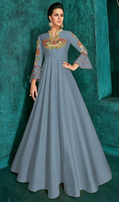 Blue Color Silk Embroidered Gown