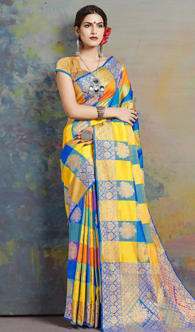 Yellow and Blue Color Shaded Silk Sari