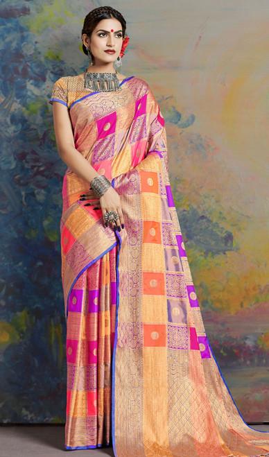 Multicolor Shaded Indian Silk Sari