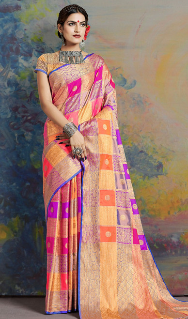 Multicolor Shaded Indian Silk Sari