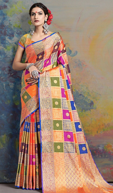 Sari in Multicolor Shaded Silk