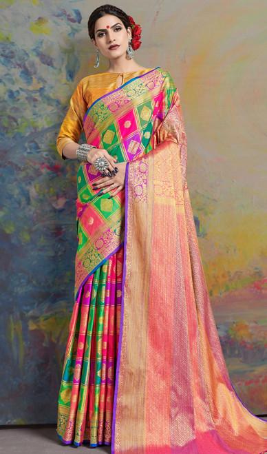 Multicolor Shade Silk Sari