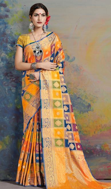 Silk Sari in Multicolor Shaded