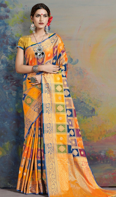 Silk Sari in Multicolor Shaded
