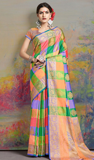 Sari, Silk Fabric in Multicolor Shaded