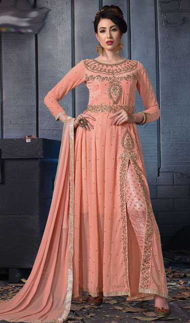 Embroidered in Peach Color Georgette Pant Style Suit