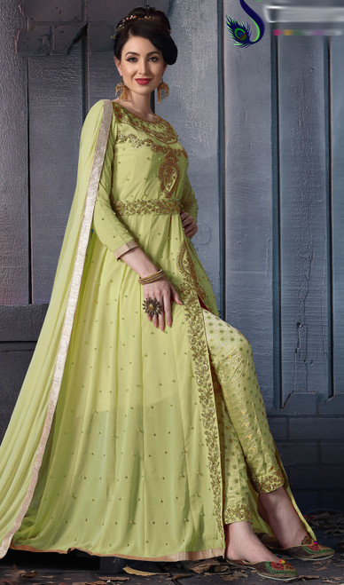 Georgette Embroidered Green Color Pant Style Suit