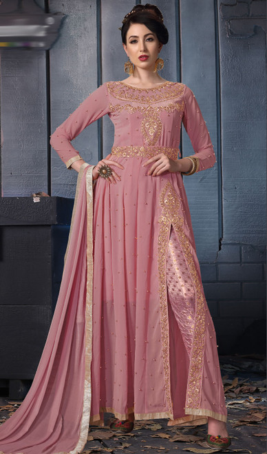 Embroidered Georgette Pant Style Pink Color Suit