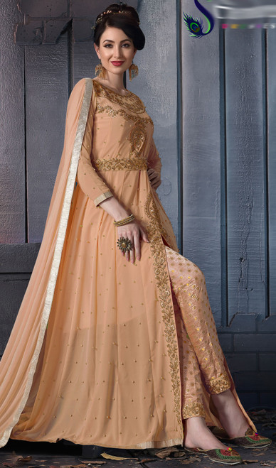Mustard Color Shaded Georgette Pant Style Suit