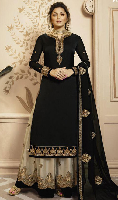 Drashti Dhami Black Color Georgette Palazzo Suit