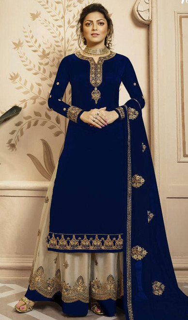 Drashti Dhami Navy Blue Color Georgette Palazzo Dress