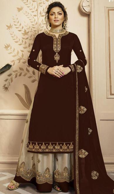 Drashti Dhami Maroon Color Georgette Palazzo Suit
