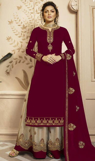 Drashti Dhami Magenta Color Shaded Georgette Suit