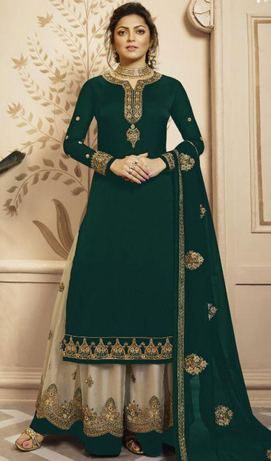 Drashti Dhami Green Color Georgette Palazzo Suit